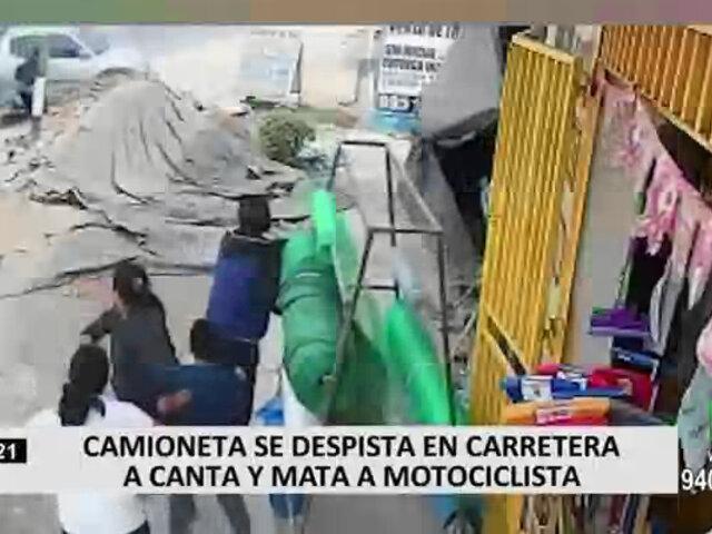 Motociclista pierde la vida tras ser impactado por camioneta fuera de control en Canta