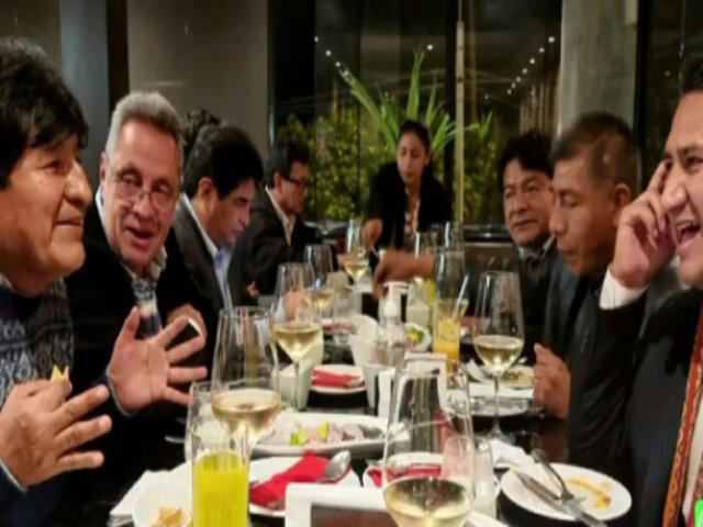 Vladimir Cerrón y Evo Morales cenaron en un restaurante miraflorino