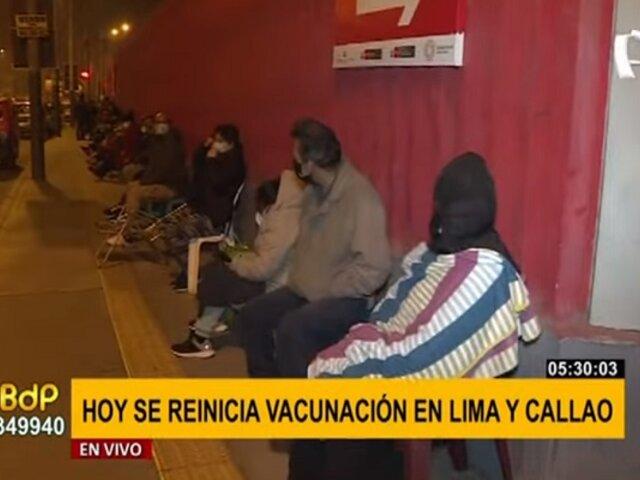 Videna: largas colas en reinicio de vacunación contra la covid-19 en Lima y Callao