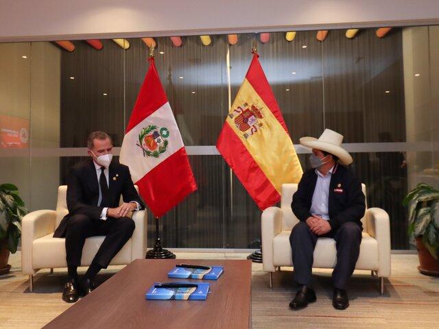 Pedro Castillo se reunió con el Rey de España, Felipe VI
