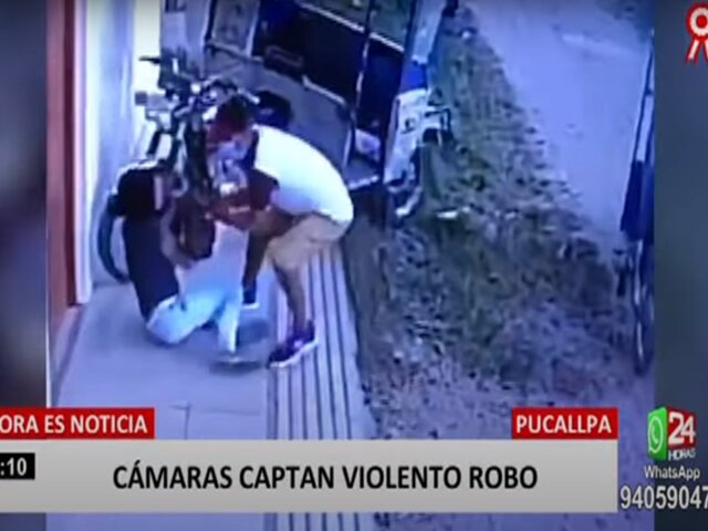 Pucallpa: cámaras de seguridad registran violento asalto a joven