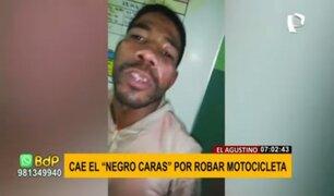 Cae el 'Negro Caras' tras robar motocicleta estacionada en El Agustino