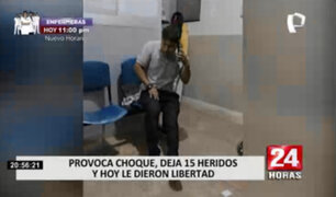 Sujeto provoca choque, dejó 15 heridos y hoy se encuentra en libertad