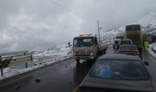 Carretera Central: se restablece el tránsito tras caída moderada de nevada
