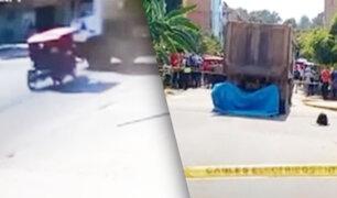 Mototaxista choca y camión le pasa por encima en Tarapoto