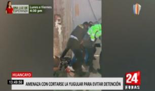 Huancayo: sujeto ebrio amenazó con cortarse el cuello para evitar detención