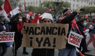 Marchan para exigir la vacancia de Pedro Castillo