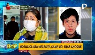 Motociclista herido en Miraflores: familia pide con urgencia una cama UCI