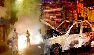 Surquillo: auto a gas se incendió y quedó totalmente inservible