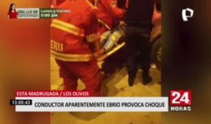 Conductor en aparente estado de ebriedad protagonizó accidente vehicular en Los Olivos