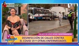 Independencia: desinfectan calles y paraderos para evitar contagios de covid-19