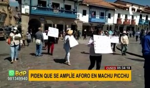 Cusco: protestan para exigir ampliar el aforo para ingreso a Machu Picchu
