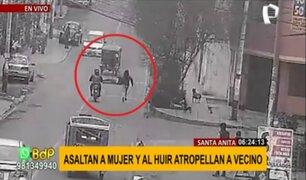 Santa Anita: delincuentes asaltan a mujer y atropellan a peatón al darse a la fuga
