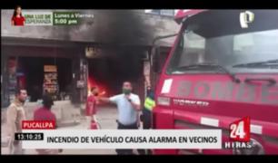 Pucallpa: incendio vehicular causó alarma entre vecinos
