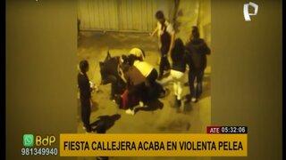 Ate: fiesta callejera termina en violenta pelea