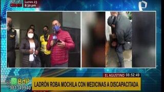 El Agustino: delincuente roba mochila con medicinas a mujer discapacitada