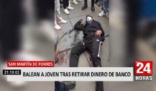 SMP: golpean y disparan a joven que acababa de retirar dinero de una agencia bancaria