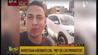 Investigan asesinato a balazos del denominado 'rey de los privaditos'