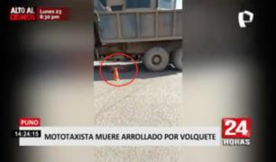 Puno: mototaxista muere embestido por volquete municipal