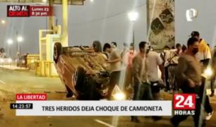 Trujillo: tres heridos tras accidente en carretera a Huanchaco