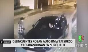 Delincuentes roban auto BMW en Surco y lo abandonan en Surquillo