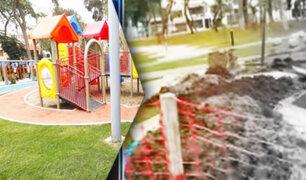 Vecinos denuncian que parque Arias Schreiber luce totalmente deteriorado