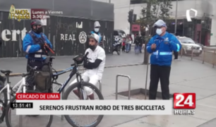 Cercado de Lima:  serenos frustran robo de tres bicicletas