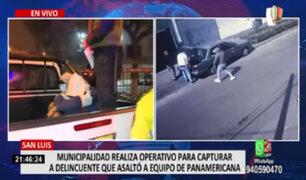Municipalidad de San Luis realizó operativo para capturar a delincuentes que asaltaron a equipo de Panamerica