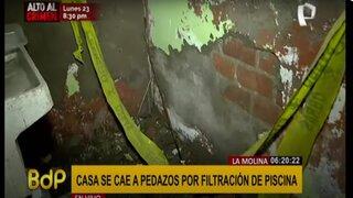 La Molina: filtración de agua provoca que vivienda empiece a desmoronarse