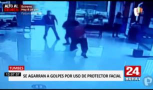 Tumbes: registran brutal pelea entre dos hombres en agencia de transportes