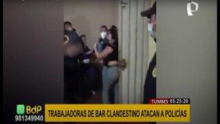 Tumbes: ciudadanas extranjeras se enfrentan a policía durante intervención a bar
