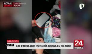 Cae pareja que escondía droga en su auto en Los Olivos
