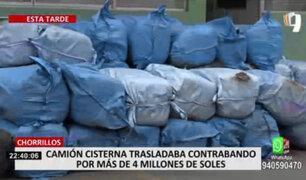 Chorrillos: intervienen a conductor de cisterna que escondía celulares, ropa y otros productos de contrabando
