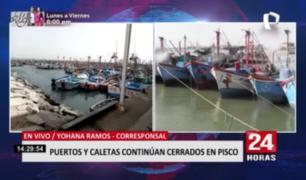 Puertos y caletas de Pisco siguen cerrados por fuertes vientos