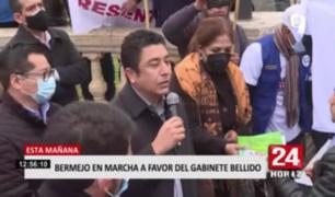 Guillermo Bermejo participó de marcha a favor del gabinete liderado por Guido Bellido