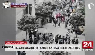 Centro de Lima: casi 50 fiscalizadores heridos dejó violento enfrentamiento con ambulantes