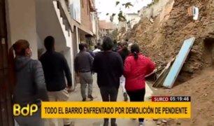 Surco: demolición de una pendiente provoca enfrentamiento entre grupos de vecinos