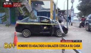 Los Olivos: hombre a bordo de su auto fue asaltado a balazos cerca de su casa