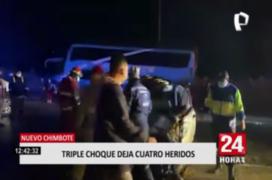 Nuevo Chimbote: triple choque deja cuatro personas heridas