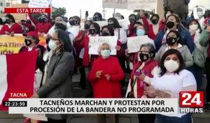 Tacna: ciudadanos marcharon en protesta a la transgresión de la procesión de la Bandera