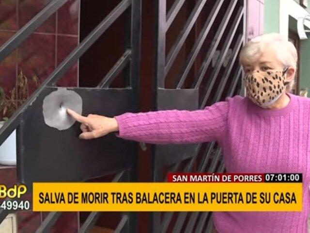 SMP: anciana salva de morir tras balacera en la puerta de su casa