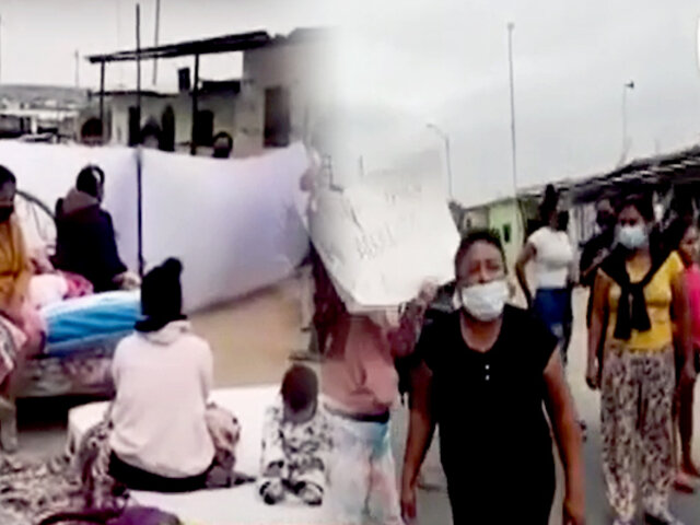 Decenas de damnificados por sismo bloquean Panamericana Norte en Piura