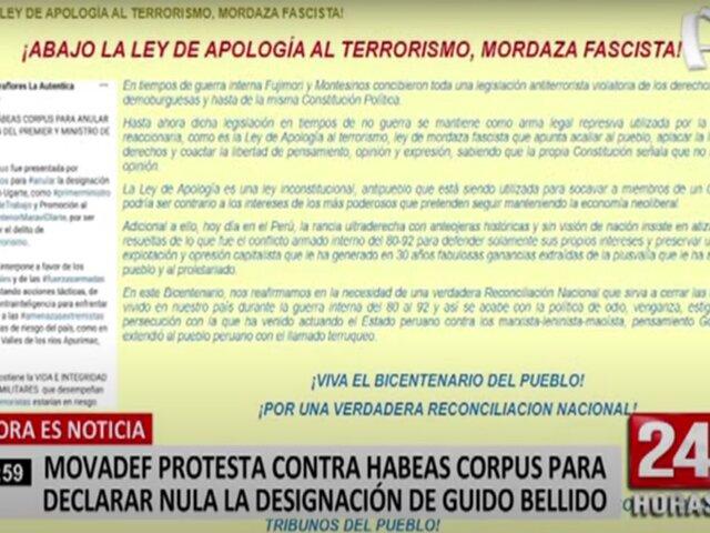 Movadef protesta contra habeas corpus para declarar nula la designación de Guido Bellido como premier