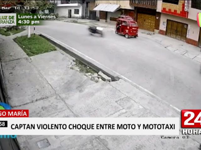Tingo María: captan violento choque entre moto y mototaxi
