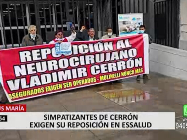 Jesús María: simpatizantes de Vladimir Cerrón protestaron frente a EsSalud