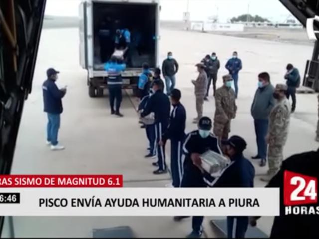 Pisco envía ayuda humanitaria a Piura tras sismo de 6.1 de magnitud