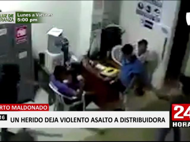 Puerto Maldonado: asaltan distribuidora de agua y dejan un herido grave
