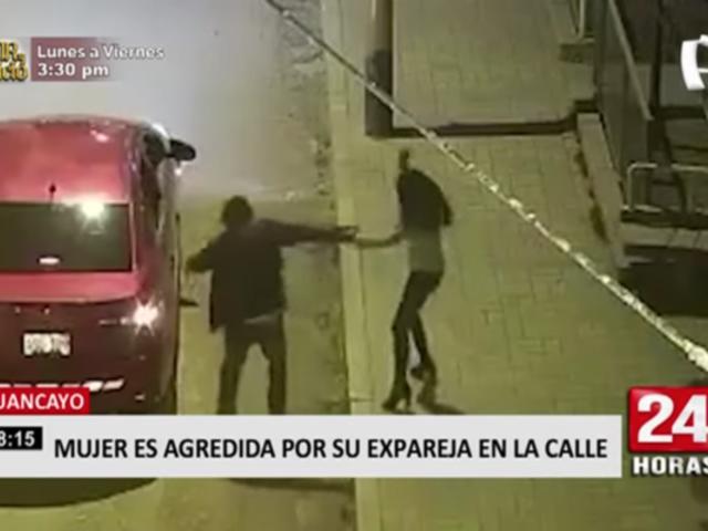 Huancayo: captan a mujer siendo agredida por su expareja en plena calle