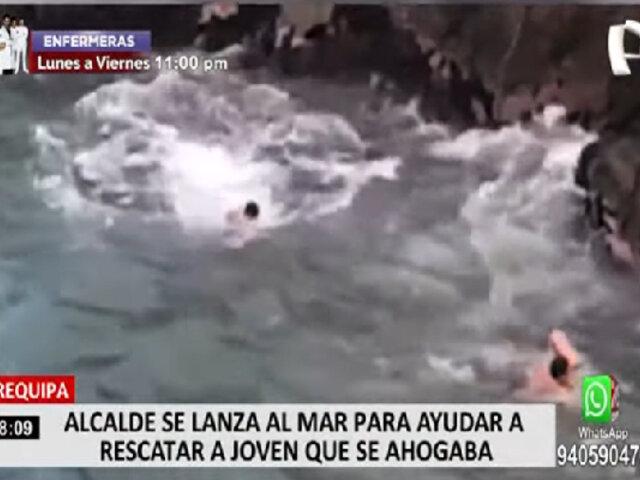 Arequipa: alcalde de Islay se lanzó al mar para rescatar a persona que se ahogaba