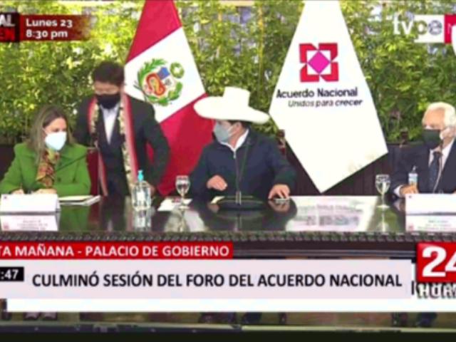 Castillo presidió sesión del foro de Acuerdo Nacional